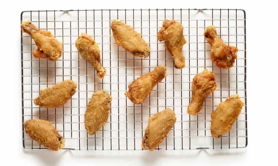 Felicity Cloake's fried chicken (cooked rack)
