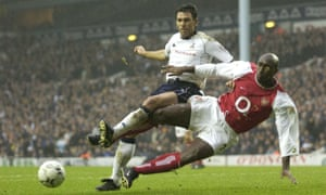 Sol Campbell, in action here against Tottenham, says of how a team coached by him would play: 'Very defensive but amazing on the counterattack. Like Arsenal of old.'
