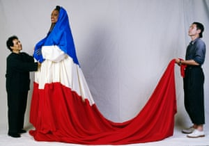 Alaia was born in Tunisia but became part of the Parisian creative elite. In 1989, he worked with Jean-Paul Goude on the costumes for the parade celebrating the 200th anniversary of the French Revolution.