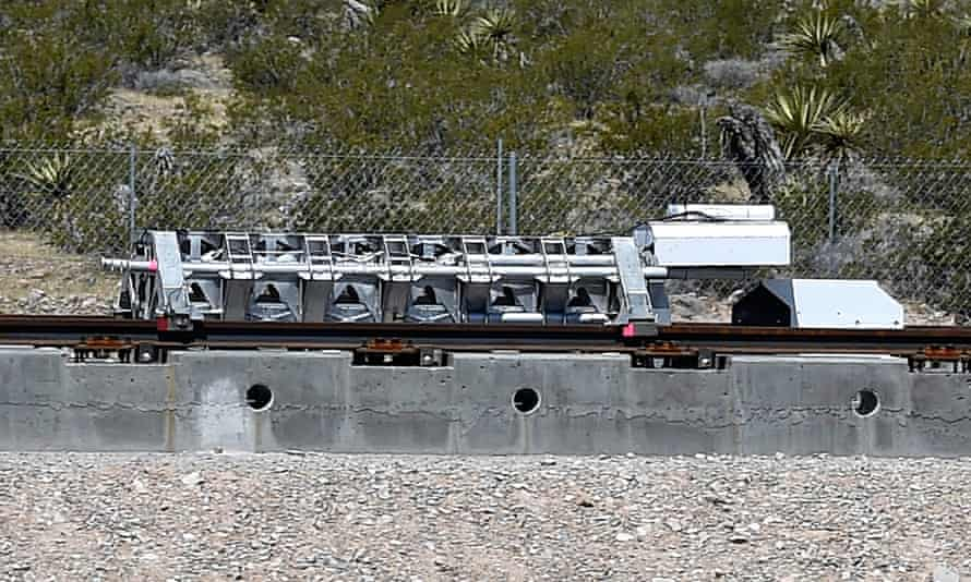 The test sled that was propelled along the test track at Hyperloop One's first public test.