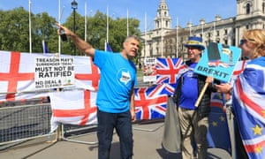 Pro and anti-Brexit campaigners outside the Houses of Parliament.