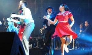 Ernie Dingo dances onstage at Perth international arts festival's live music extravaganza Home