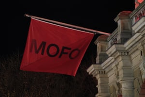 Dark Mofo flags adorn the Hobart Town Hall.