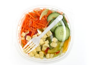 plastic lunch container with a mixed salad within