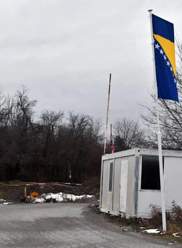 A blocked-off crossing on the border of Bosnia and Croatia, in the northern Bosnian village of Bosanska Bojna.