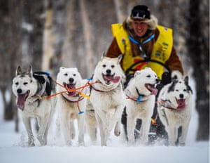 Petropavlovsk-Kamchatsky, Russia. A 10km prologue dog sled race on the eve of the international Beringia competition in Russia's far east. The prologue contest is part of the 2018 Russian Winter Dog-Powered Sports Cup