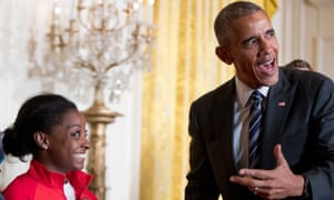 Barack Obama with Simone Biles at the White House, during a ceremony to honour members of the US Olympic teams, 2016