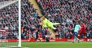 Mohamed Salah of Liverpool scores his sides second goal past Asmir Begovic of Bournemouth as The Reds win 3-0 at Anfield.