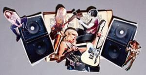 Illustration of Kim Gordon, Chrissie Hynde, Carrie Brownstein, Viv Albertine and Grace Jones
