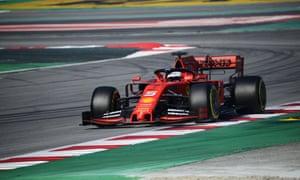 Sebastian Vettel driving for Ferrari on the eighth day of testing at the Circuit de Catalunya in Barcelona