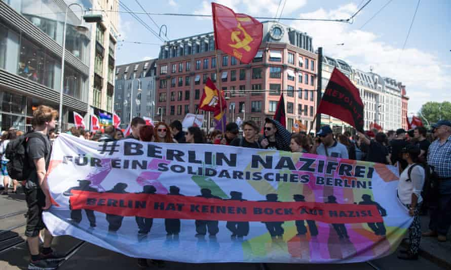 Counter-demonstrators against a far-right march in Berlin