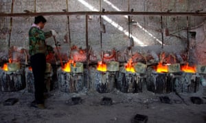 Worker at smelting workshop