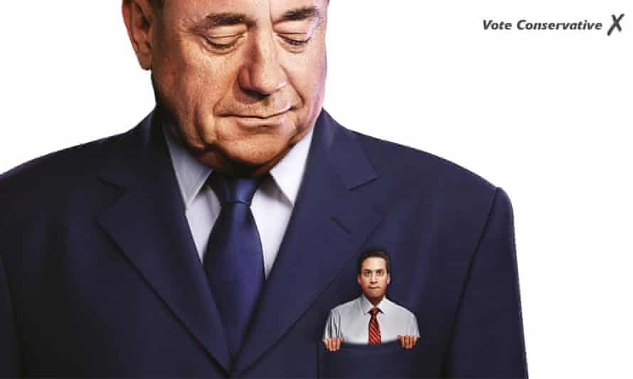 Conservative party poster featuring Labour party leader Ed Miliband in the pocket of former SNP leader Alex Salmond.