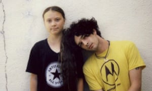 'The rules have to be changed' ... Greta Thunberg, left, with Matt Healy of the 1975.