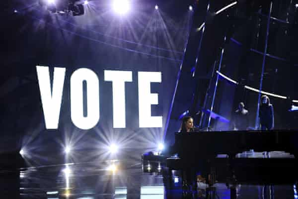 Lovato's call for votes during her Billboard music awards performance