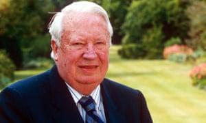 Sir Edward Heath at home in Salisbury in 1996.