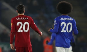Adam Lallana of Liverpool and Hamza Choudhury of Leicester City on Boxing Day