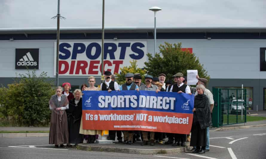 Unite union members demonstrate outside the headquarters of Sports Direct last year.