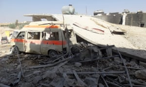 Damage at al-Tah hospital, which collapsed after an airstrike in the Maarrat al-Nu'man district of Idlib