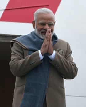 Prime Minister Narendra Modi arriving in St Petersburg