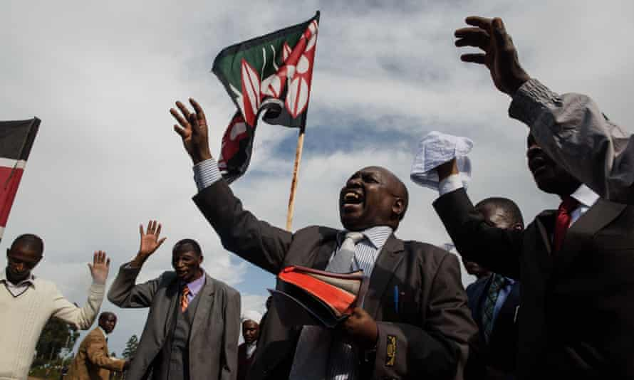 Pastors from 20 churches in Eldoret, Kenya, march and pray for peaceful elections.