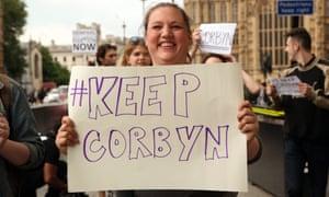 Pro-Jeremy Corbyn protesters outside Downing Street on Sunday