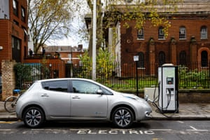 A Nissan Leaf using a street charger.