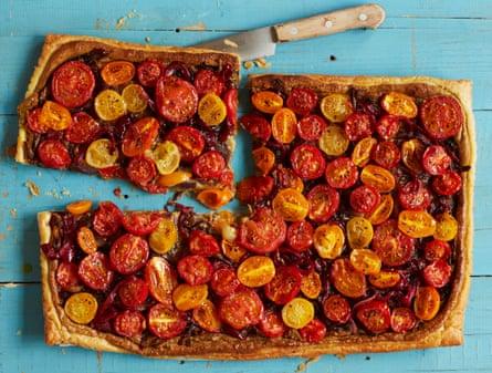 Meera Sodha's tomato, pistachio and saffron tart.