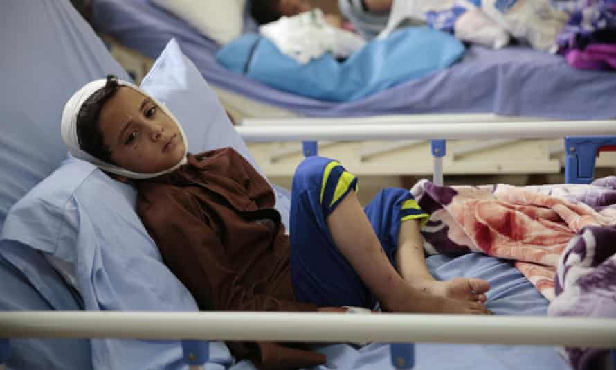 A child injured in a deadly Saudi-led coalition airstrike in 2018.