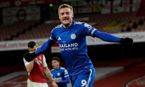 Jamie Vardy of Leicester City scores and celebrates.