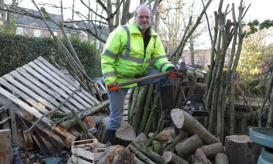 John Cossham salvages wood for fuel and food to eat and doesn't own a car.