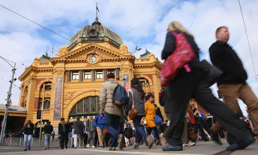 Commuters at Flinders Street Station.