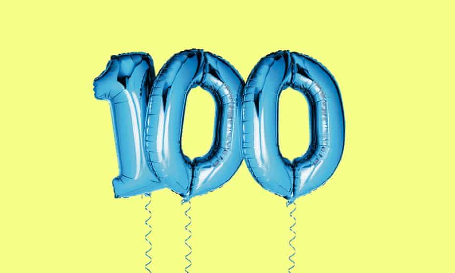 '100' birthday balloons