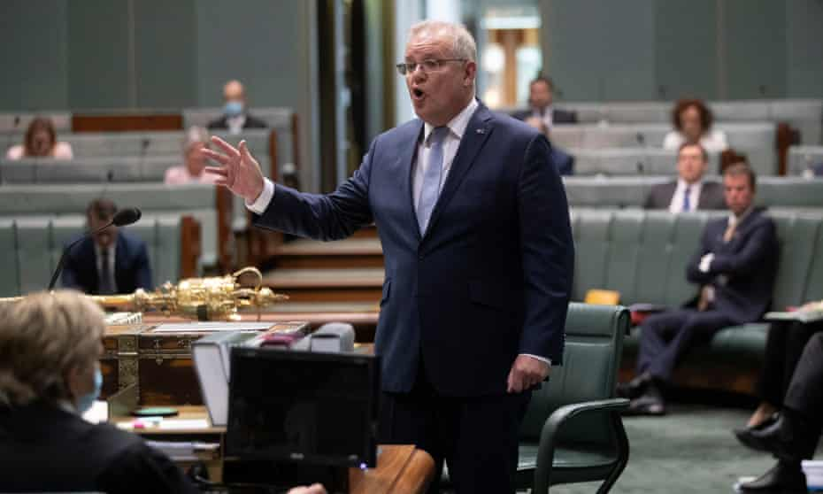 The Prime Minister Scott Morrison during question time today in the house of representatives.