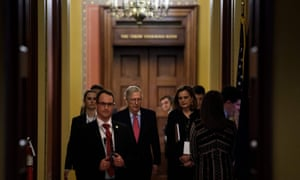 Mitch McConnell after meeting with his GOP Senate caucus on Tuesday evening.