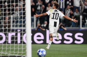 Paulo Dybala celebrates after scoring against Young Boys in Turin.