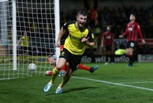Burton Albion's Nathan Broadhead celebrates scoring his side's second goal.