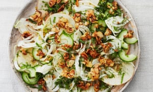 Meera Sodha's fennel and apple chaat with caramelised almonds.