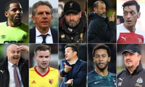 Jason Puncheon, Claude Puel, Jürgen Klopp, Nuno Espírito Santo, Mesut Özil, Rafael Benítez, Mousa Dembélé, Marco Silva, Tom Cleverley and Sean Dyche.