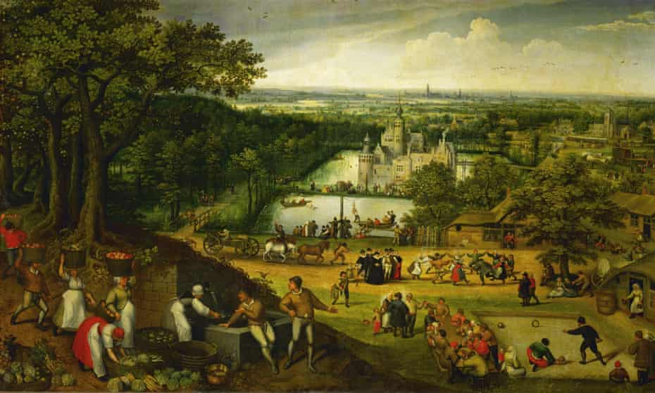 Autumn landscape (September) with Antwerp in the background, 1585 by Lucas van Valckenborch.