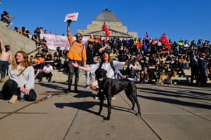 Protesters at Melbourne's Shrine of Remembrance.