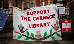 A banner protesting the planned closure of Carnegie library in Lambeth, London, 2016