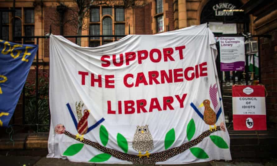 A banner hangs outside Carnegie Library on April 4, 2016 in London, England.