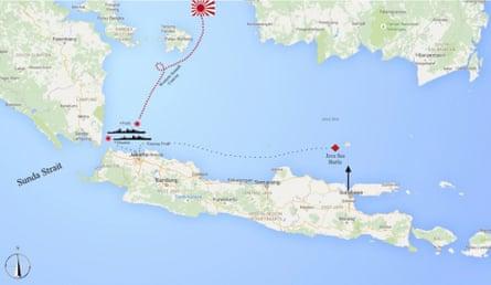 Sunda Strait, where HMAS Perth lies.