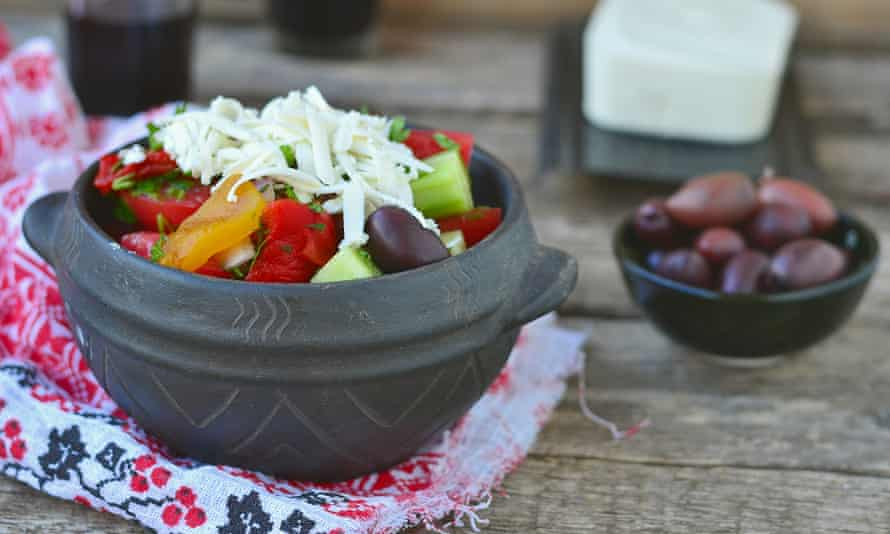 Pick of the crop: shopska salad, with salted vegetables and cheese.