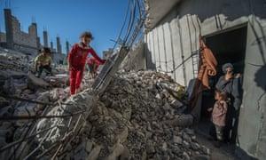 Children in Aleppo rubble