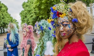 Designer Catherine Walker's floral fashion display last year to coincide with the Chelsea flower show.