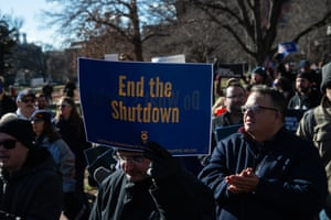 Union workers demonstrate against the government shutdown on January 10, 2019, in Washington, DC.