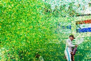 Valtteri Bottas celebrates after his win