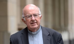 Bishop Peter Connors leaving the royal commission hearings in Melbourne.